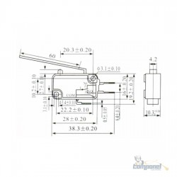 Chave Micro Switch 16a Haste 60mm